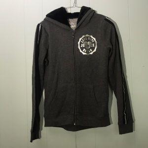 Justice Zip Up hooded Sweatshirt plush Hood Sz 14